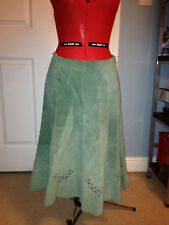 Vintage Green Suede Skirt Retro Boho 60's 70's size14-16