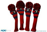 Tour 1 3 5 7 Driver Fairway Wood Red & Blue Golf Headcover Knit Pom Pom Cover