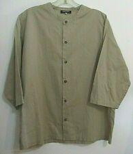 Eskandar cotton tunic shirt khaki tan size 1 button front 3/4 sleeve band collar