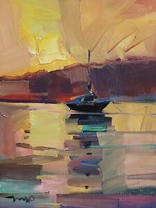 JOSE TRUJILLO Oil Painting IMPRESSIONISM 12X16 SEASCAPE BOAT SUNSET SIGNED COA
