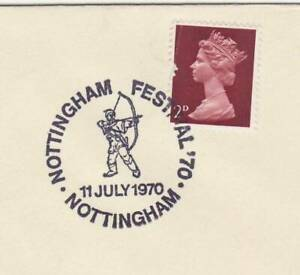 GB Stamps Souvenir Postmark Nottingham Festival, Robin Hood, bow, arrow 1970