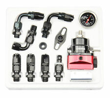 Universal Black & Red Adjustable Fuel Pressure Regulator Kit AN 6 Fitting End