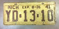 GENUINE 1941 American Michigan USA  License Licence Number Plate Tag YD-13-10