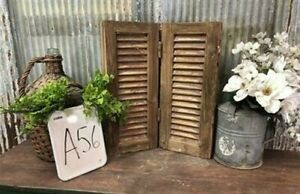 Small Antique Farmhouse Shutter, Natural Wood Shutter Architectural Salvage A56,