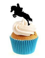 Horse Show Jumping Silhouette 12 Edible Stand Up wafer paper cake toppers