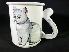 Cat Kitten White Short Hair Tail Handle Coffee Tea Cup Paw Print Lid 3 3/4""