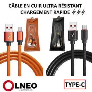 Câble Type-C 2.4A Charge Rapide 1Mètre USB CUIR ULTRA RESISTANT  Samsung HUAWEI