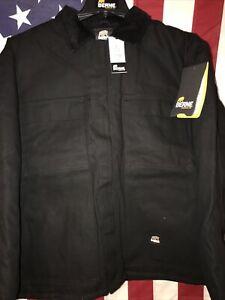 "Berne Original Chore Coat Black (CH416BK) Quilt Lined Heavyweight Large 44-46"""