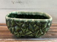 Vintage Mid Century McCoy? Pottery Green Glazed Rectangular Planter Geometric