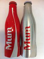 Coca Cola UK 'MUM' 2014 bottles - PAIR Diet / Regular aluminium 250ml bottles