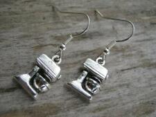 Earrings, Baker Earrings, Chef Jewelry Stand Mixer Earrings, Antiqued Silver