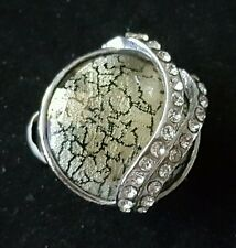 New fashion cocktail ring round with clear rhinestones and gold w/black stone 8