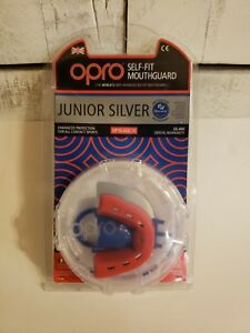 OPRO Junior Silver Self Fit Kids Mouthguard Up to Age 10 Mouth Guard Red Blue