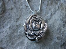 STAINLESS STEEL BLOOMING ROSE URN NECKLACE -MOURNING, ASHES, HAIR, MEMORIAL