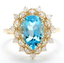 4.40 Carat Natural Blue Swiss Topaz and Diamonds in 14K Solid Yellow Gold Ring