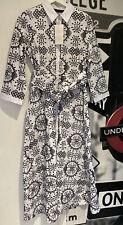 Zara Broderie Anglaise White & Black Shirt Tunic Dress Cut work Embroidered UK M