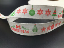 5y christmas Cotton Ribbon 15mm  Gift Present Package DIY Craft