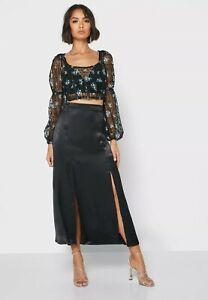 Topshop Double Split Midi Skirt - Black Satin up to 75% off £30 RRP
