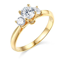 1.25 Ct Round Cut 3-Stone Past Present Future Ring Real Solid 14K Yellow Gold