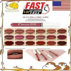18 Colors Lip Stick Matte Liquid Lipstick Makeup Waterproof  Cosmetics USA
