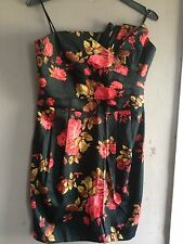 Miss Selfridge Black/Red Floral Strapless Dress Size 10