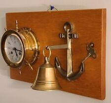 Vintage Working SCHATZ 'Ships Bell' Marine Maritime Brass Ship Wheel Wall Clock