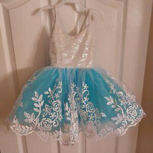 Costume Gallery Girl Sm Dance Costume Halloween Dress Up Turquoise White EUC
