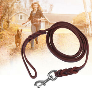 Leather Dog Leash Pet Walking Leads Heavy Duty for Small Medium Dogs Training