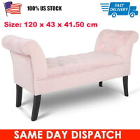 "71"" Modern Velvet Arm Bench Bed End Ottoman Sofa Seat Footrest Bedroom Entryway"