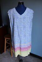 Coldwater Creek Women's Blue/Yellow Sleeveless V-Neck Rayon Shift Dress ~1X~