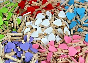1000 x Mini wooden heart pegs 30mm(white) craft, wedding, vintage, photo Bulk UK