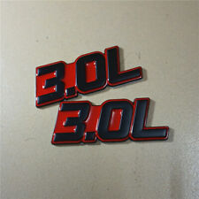 2x 3.0L Red Metal Badge Sticker Decal Emblem Naturally Aspirated Engine Coupe v6