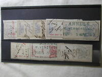 France 8 Revenue Stamps Cancelled