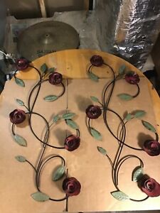 """Set of Metal Rose Wall Decor Garden Flower Wall Art,Rustic 31"""" x 14"""" Red & Green"""