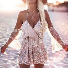 Womens Sexy Sequin Playsuit Jumpsuit Summer Bodysuit Halter Beach Romper Dresses