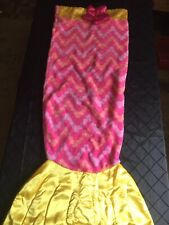 "Snuggie Tail Mermaid Youth Blanket 55""x40"" Pink Yellow Purple Peach"