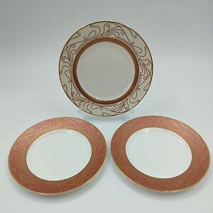 """Wedgwood Paris Side Plates X3 8.25"""" Diameter White/Pink/Gold Art Deco Nouveau"""