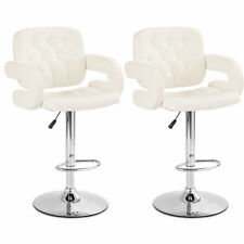Set of 2 PU Leather Swivel Bar Stools Hydraulic Pub Chair Adjustable White New