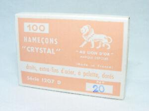 Boite de 100 anciens Hameçons AU LION D'OR N°20 CRYSTAL Dorés à palette