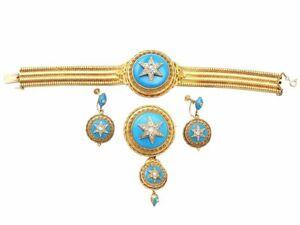 Antique Victorian 1.82ct Diamond & Turquoise, 18k Yellow Gold Jewellery Set