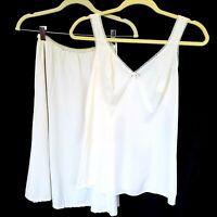 Vtg Lorraine 36 Camisole Med Half Slip Set Ivory White 100% Nylon Full Circle