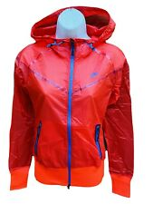 New NIKE Sportswear NSW Women's Super Light Windrunner Inspired Rain Jacket Red