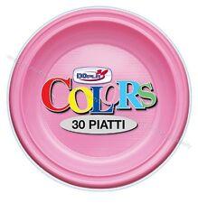 PARTY PIATTI PIANI ROSA COLORATI PLASTICA CARTA 30pz Ø22cm Feste