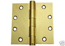 "4.5"" X 4.5"" Polished Brass 4 1/2 Inch Commercial Straight Corner Door Hinge"