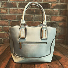 Womens Grey Medium Faux Leather Moda Tote Handbag with Free River Island Gift
