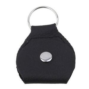 Hot Sell Guitar Pick Holder PU Leather Plectrum Case Bag Keychain Black