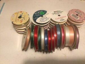 35 spools of colored 6 an 10 yards craft ribbon
