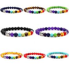 7 Chakra Bracelet Lava Stone Crystal Healing Beads Buddha Mala Reiki Anxiety 8mm