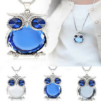 Women Owl Rhinestone Crystal Pendant Animal Long Chain Sweater Necklace Jewelry