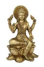 "Brass indian made hand carved hindu goddess of wealth laxmi statue idol 11"""